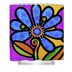 Cosmic Daisy In Blue Shower Curtain
