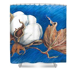 Cotton Picking Blues Shower Curtain