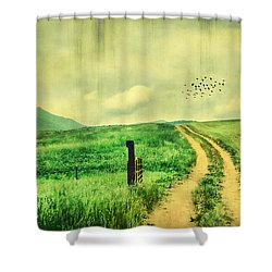 Country Roads Shower Curtain by Darren Fisher
