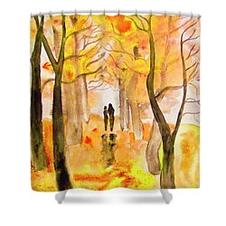 Couple On Autumn Alley, Painting Shower Curtain by Irina Afonskaya