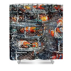 Crab Pots Shower Curtain by Brandon Bourdages