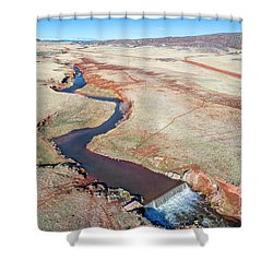 creek at  Colorado foothills - aerial view Shower Curtain