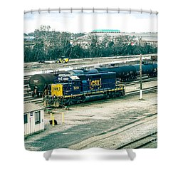 Shower Curtain featuring the photograph Csx Rail Yard by Melissa Messick