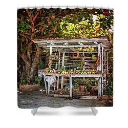 Shower Curtain featuring the photograph Cuban Fruit Stand by Joan Carroll