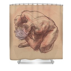 Curled Up Shower Curtain