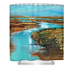 Curve In The Waterway Shower Curtain by Linda Olsen