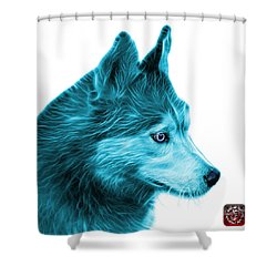 Cyan Siberian Husky Art - 6048 - Wb Shower Curtain