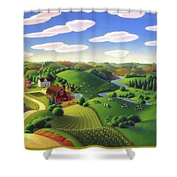 Shower Curtain featuring the painting Dairy Farm  by Robin Moline
