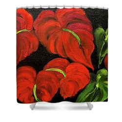Dancing Anthuriums Shower Curtain by Jenny Lee