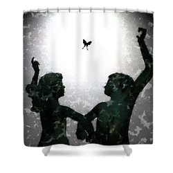 Shower Curtain featuring the digital art Dancing Silhouettes by Holly Ethan