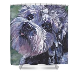 Shower Curtain featuring the painting Dandie Dinmont Terrier by Lee Ann Shepard