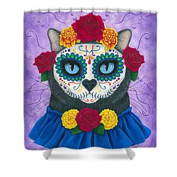 Shower Curtain featuring the painting Day Of The Dead Cat Gal - Sugar Skull Cat by Carrie Hawks