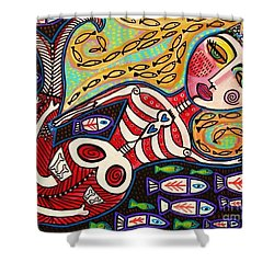 Day Of The Dead Red Skeleton Mermaid Shower Curtain by Sandra Silberzweig