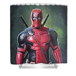 Deadpool Shower Curtain by Tom Carlton