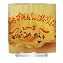Decorated Plate With A Basket And Flowers Shower Curtain