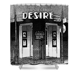 Desire Corner Bourbon Street French Quarter New Orleans Black And White Fresco Digital Art Shower Curtain