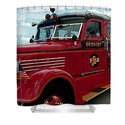 Detroit Fire Truck Shower Curtain