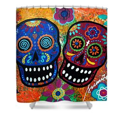 Dia De Los Muertos Couple Shower Curtain