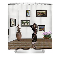 digital exhibition _ Sculpture 1 of girl  Shower Curtain