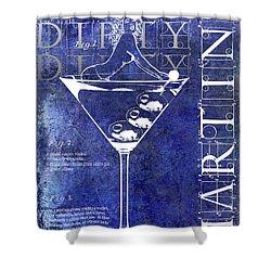 Dirty Dirty Martini Patent Blue Shower Curtain by Jon Neidert