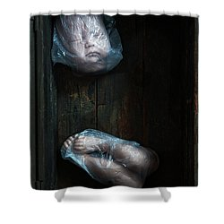 Doll Parts In Plastic Bags Shower Curtain by Lee Avison
