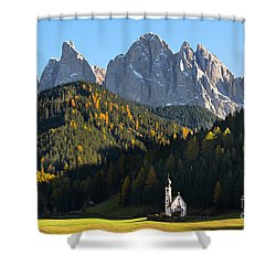 Dolomites Mountain Church Shower Curtain