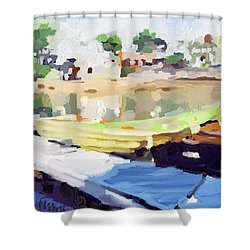 Dories At Beacon Marine Basin Shower Curtain by Melissa Abbott