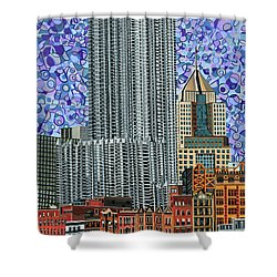 Downtown Pittsburgh - View From Smithfield Street Bridge Shower Curtain by Micah Mullen