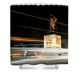 Drake's Statue Traffic Trails Iv Shower Curtain