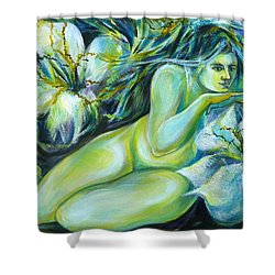 Shower Curtain featuring the painting Dreaming Flower by Anna  Duyunova