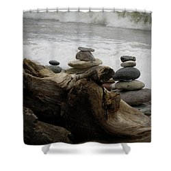 Shower Curtain featuring the photograph Driftwood Cairns by Kimberly Mackowski