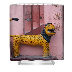 Durga's Lion, Vrindavan Shower Curtain by Jennifer Mazzucco