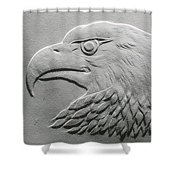 Eagle Head Relief Drawing Shower Curtain by Suhas Tavkar