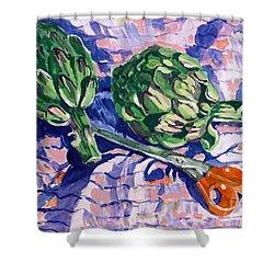 Edible Flowers Shower Curtain by Jan Bennicoff