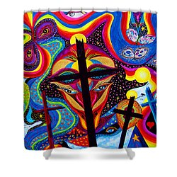 Shower Curtain featuring the painting Crosses To Bear by Marina Petro