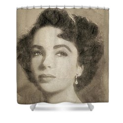 Elizabeth Taylor Hollywood Actress Shower Curtain by John Springfield