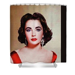 Elizabeth Taylor Hollywood Actress Shower Curtain by Mary Bassett