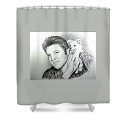 Shower Curtain featuring the painting Elvis And Sweet-pea by Patricia Schneider Mitchell