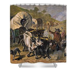 Emigrants To West, 19th C Shower Curtain by Granger