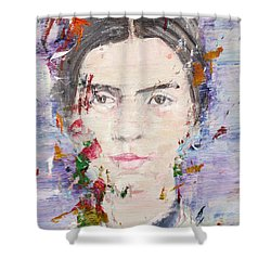 Shower Curtain featuring the painting Emily Dickinson - Oil Portrait by Fabrizio Cassetta