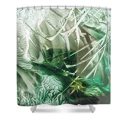 Encaustic Abstract Green Foliage Shower Curtain