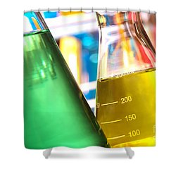 Erlenmeyer Flasks In Science Research Lab Shower Curtain by Olivier Le Queinec