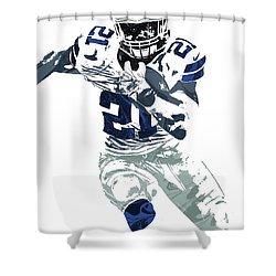 Ezekiel Elliott Dallas Cowboys Pixel Art 6 Shower Curtain by Joe Hamilton