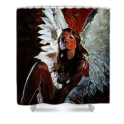 Fallen Angel Shower Curtain by Tbone Oliver