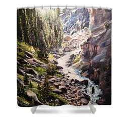 Falls Below Rimrock Lake Shower Curtain