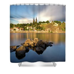 Famous Vysehrad Church During Sunny Day. Amazing Cloudy Sky In Motion. Vltava River, Prague, Czech Republic Shower Curtain