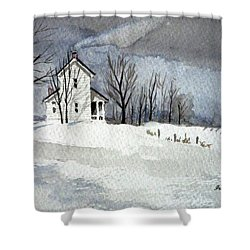 Farmhouse In Winter Shower Curtain