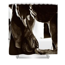 Farrier At Work Shower Curtain by Angela Rath