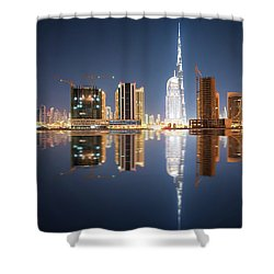 Fascinating Reflection Of Tallest Skyscrapers In Business Bay District During Calm Night. Dubai, United Arab Emirates. Shower Curtain