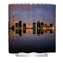 Fascinating Reflection Of Tallest Skyscrapers In Bussiness Bay D Shower Curtain